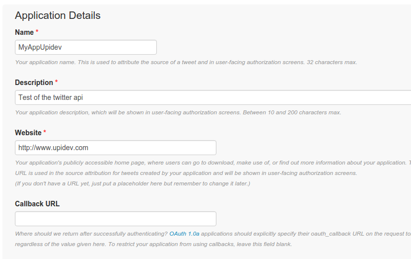 creer une application twitter pour tweepy