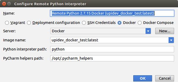pycharm project interpreter docker