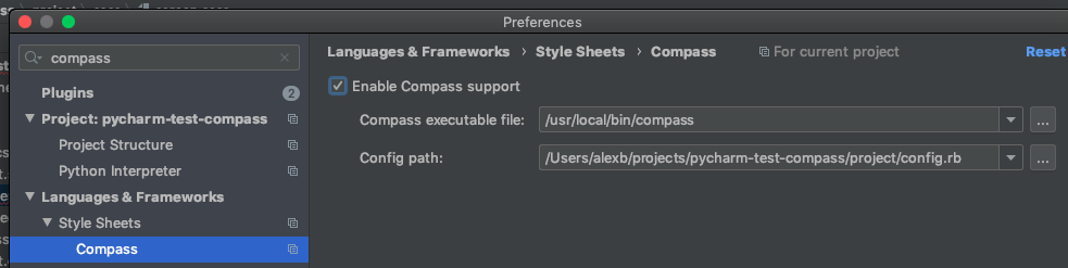 Upidev - Enabling Compass support in Pycharm