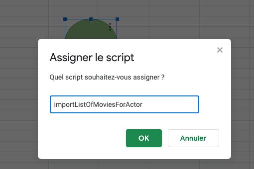 Upidev: Assign a app script to a google spreadsheet button